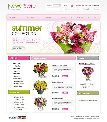Flowers Most Popular Zen Cart Templates website inspirations at your coffee break? Browse for more Zen Cart #templates! // Regular price: $139 // Sources available: .PSD, .PHP #Flowers #Most Popular #Zen Cart Templates #Zen Cart