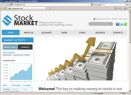 Website template #48180 stock market business custom website.