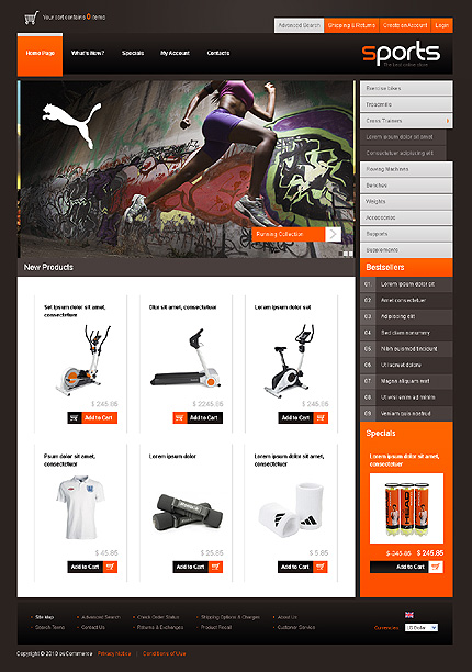 OSCommerce Main Page  preview