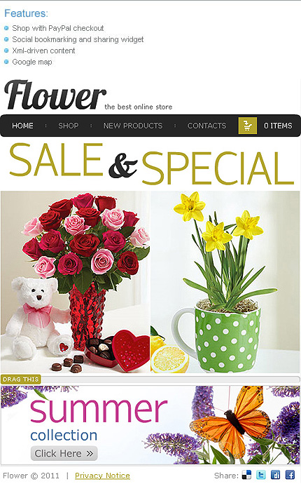 Flowers website inspirations at your coffee break? Browse for more Facebook Flash Theme #templates! // Regular price: $50 // Sources available:.SWF, .FLA, .XML #Flowers #Facebook Flash Theme
