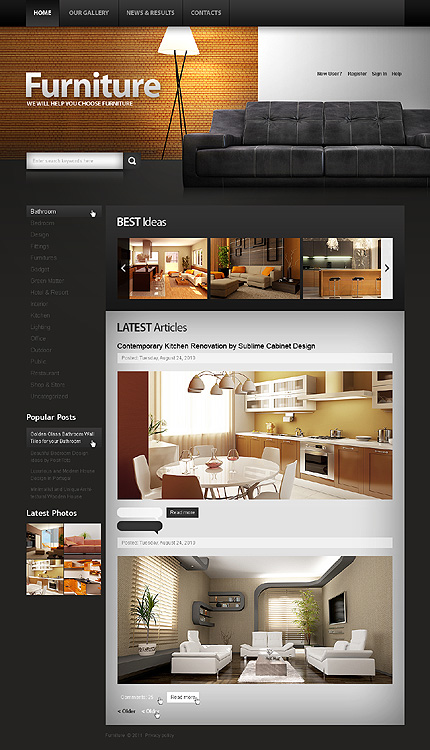 Interior & Furniture Most Popular Wide Templates Drupal Templates website inspirations at your coffee break? Browse for more Drupal #templates! // Regular price: $63 // Sources available: .PSD, .PHP #Interior & Furniture #Most Popular #Wide Templates #Drupal Templates #Drupal