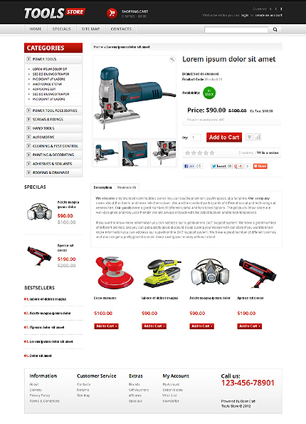 Tools & Equipment website inspirations at your coffee break? Browse for more OpenCart #templates! // Regular price: $89 // Sources available: .PSD, .PNG, .PHP, .TPL, .JS #Tools & Equipment #OpenCart
