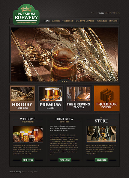 Most Popular Brewery Templates website inspirations at your coffee break? Browse for more PRO Website #templates! // Regular price: $75 // Sources available: .HTML,  .PSD #Most Popular #Brewery Templates #PRO Website