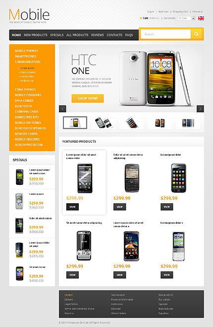 Electronics website inspirations at your coffee break? Browse for more Zen Cart #templates! // Regular price: $139 // Sources available: .PSD, .PHP #Electronics #Zen Cart