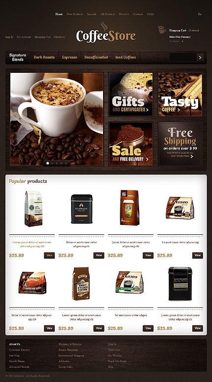 Cafe and Restaurant website inspirations at your coffee break? Browse for more Zen Cart #templates! // Regular price: $139 // Sources available: .PSD, .PHP #Cafe and Restaurant #Zen Cart