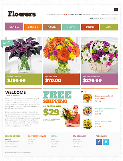 Flowers website inspirations at your coffee break? Browse for more OpenCart #templates! // Regular price: $89 // Sources available: .PSD, .PNG, .PHP, .TPL, .JS #Flowers #OpenCart