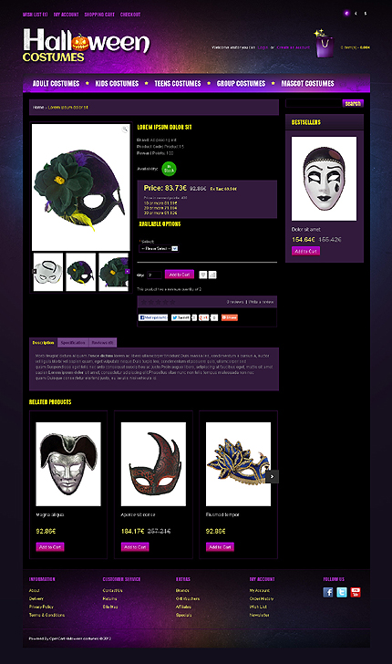 Most Popular Halloween Templates website inspirations at your coffee break? Browse for more OpenCart #templates! // Regular price: $89 // Sources available: .PSD, .PNG, .PHP, .TPL, .JS #Most Popular #Halloween Templates #OpenCart