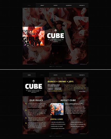 Night Club website inspirations at your coffee break? Browse for more JavaScript Based #templates! // Regular price: $68 // Sources available: .HTML,  .PSD #Night Club #JavaScript Based