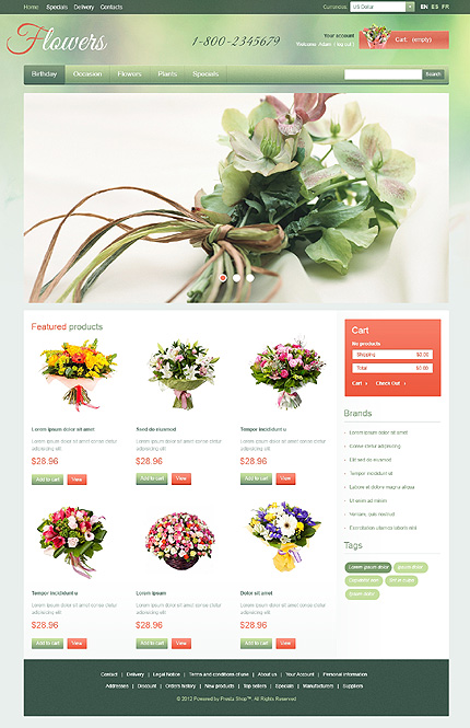 Flowers website inspirations at your coffee break? Browse for more PrestaShop #templates! // Regular price: $139 // Sources available: .PSD, .PHP, .TPL #Flowers #PrestaShop