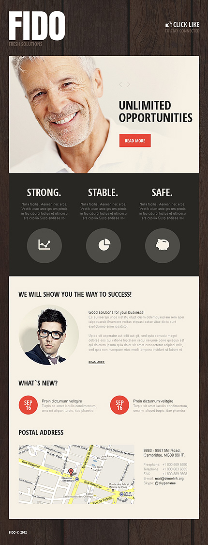 Business website inspirations at your coffee break? Browse for more Facebook Static Theme #templates! // Regular price: $50 // Sources available: .PSD, .PHP, .CSS #Business #Facebook Static Theme