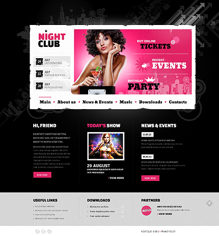Night Club website inspirations at your coffee break? Browse for more PRO Website #templates! // Regular price: $75 // Sources available: .HTML,  .PSD #Night Club #PRO Website