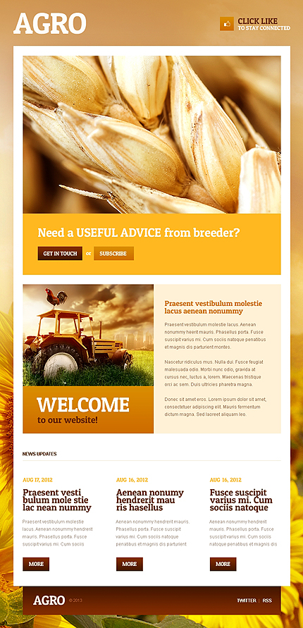 Agriculture website inspirations at your coffee break? Browse for more Facebook Static Theme #templates! // Regular price: $50 // Sources available: .PSD, .PHP, .CSS #Agriculture #Facebook Static Theme