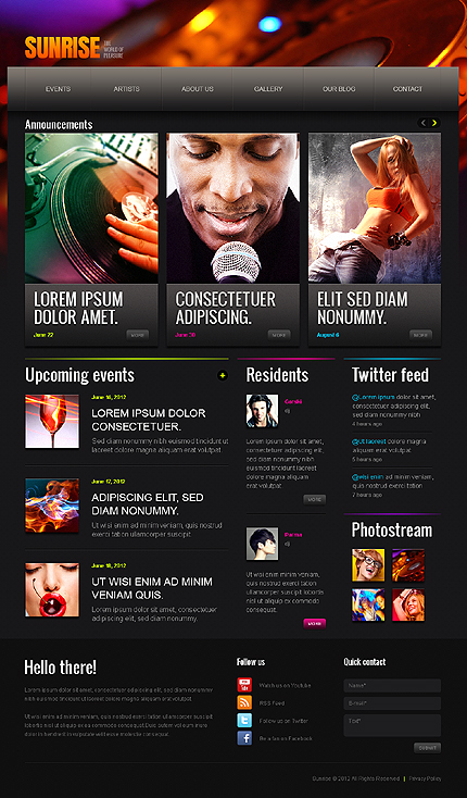 Night Club Most Popular website inspirations at your coffee break? Browse for more Drupal #templates! // Regular price: $66 // Sources available: .PSD, .PHP #Night Club #Most Popular #Drupal