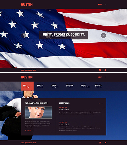 Politics website inspirations at your coffee break? Browse for more JavaScript Based #templates! // Regular price: $67 // Sources available: .HTML,  .PSD #Politics #JavaScript Based
