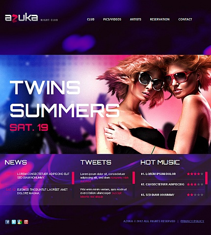 Night Club website inspirations at your coffee break? Browse for more Facebook HTML CMS Template #templates! // Regular price: $59 // Sources available:<b>Sources Not Included</b> #Night Club #Facebook HTML CMS Template