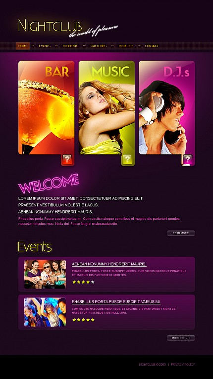 Night Club website inspirations at your coffee break? Browse for more Stretched Flash CMS Theme #templates! // Regular price: $99 // Sources available:.XFL #Night Club #Stretched Flash CMS Theme