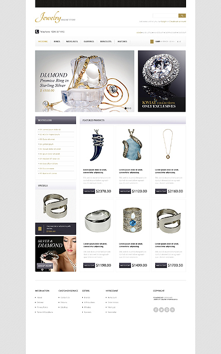 opencart template editor - jewelry type opencart templates template 42363