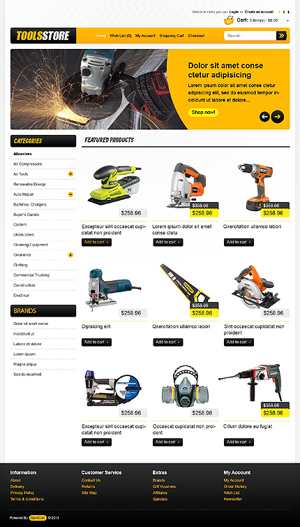 Most Popular Tools & Equipment website inspirations at your coffee break? Browse for more OpenCart #templates! // Regular price: $89 // Sources available: .PSD, .PNG, .PHP, .TPL, .JS #Most Popular #Tools & Equipment #OpenCart