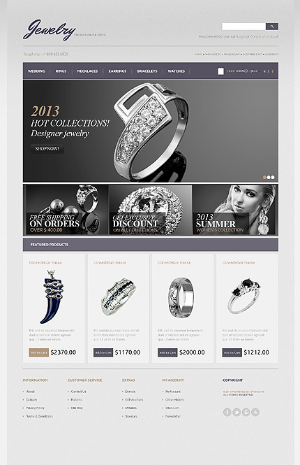 opencart template editor - jewelry type opencart templates template 43487