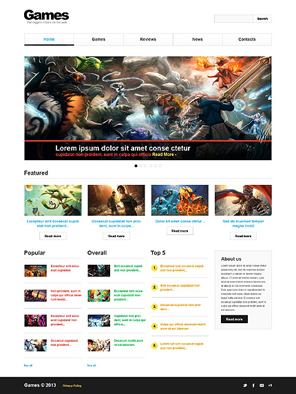 Games Most Popular website inspirations at your coffee break? Browse for more Bootstrap #templates! // Regular price: $75 // Sources available: .HTML,  .PSD #Games #Most Popular #Bootstrap