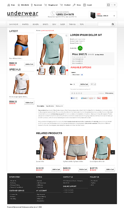 opencart template editor - fashion type opencart templates template 43734