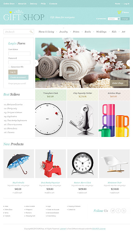 Gifts website inspirations at your coffee break? Browse for more VirtueMart #templates! // Regular price: $139 // Sources available: .HTML,  .PSD, .PHP, .XML, .CSS, .JS #Gifts #VirtueMart