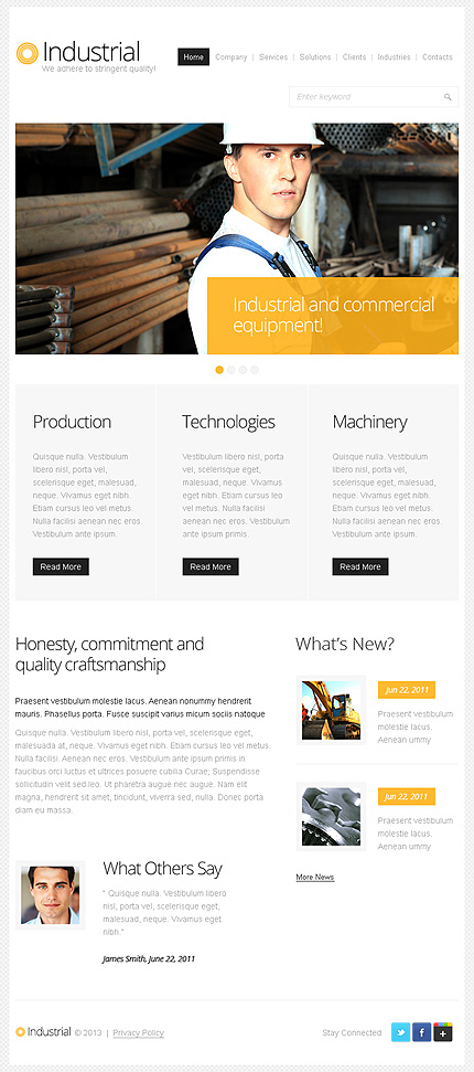 Industrial website inspirations at your coffee break? Browse for more Facebook HTML Theme #templates! // Regular price: $50 // Sources available: .HTML,  .PSD, .CSS #Industrial #Facebook HTML Theme