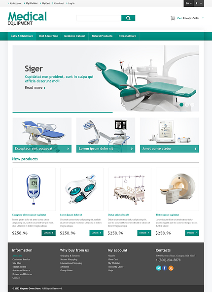 Medical equipment store responsive magento theme for Magento homepage template