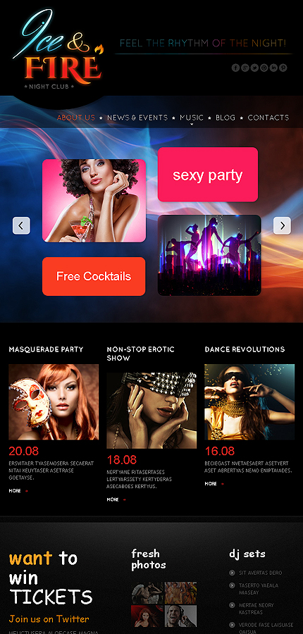 Night Club Most Popular website inspirations at your coffee break? Browse for more Bootstrap #templates! // Regular price: $75 // Sources available: .HTML,  .PSD #Night Club #Most Popular #Bootstrap