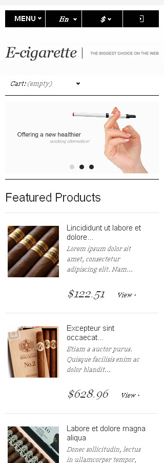 Tobacco Templates website inspirations at your coffee break? Browse for more PrestaShop #templates! // Regular price: $139 // Sources available: .PSD, .PHP, .TPL #Tobacco Templates #PrestaShop