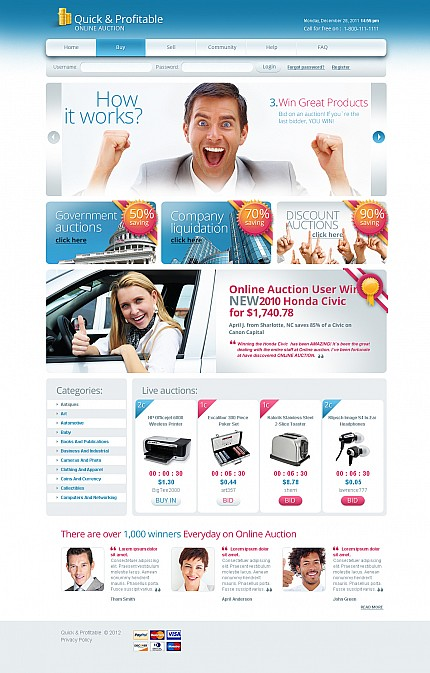 Auction Templates website inspirations at your coffee break? Browse for more Stretched Flash CMS Theme #templates! // Regular price: $99 // Sources available:.XFL #Auction Templates #Stretched Flash CMS Theme