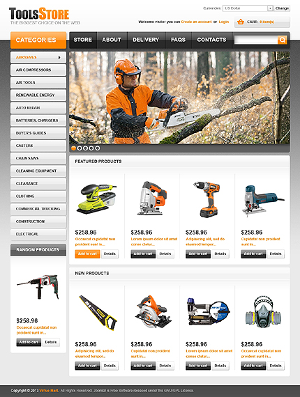 Most Popular Tools & Equipment website inspirations at your coffee break? Browse for more VirtueMart #templates! // Regular price: $139 // Sources available: .HTML,  .PSD, .PHP, .XML, .CSS, .JS #Most Popular #Tools & Equipment #VirtueMart