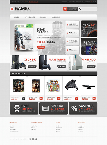 Games Most Popular website inspirations at your coffee break? Browse for more OpenCart #templates! // Regular price: $89 // Sources available: .PSD, .PNG, .PHP, .TPL, .JS #Games #Most Popular #OpenCart