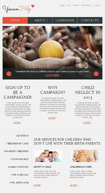 Charity website inspirations at your coffee break? Browse for more Facebook HTML CMS Template #templates! // Regular price: $59 // Sources available:<b>Sources Not Included</b> #Charity #Facebook HTML CMS Template