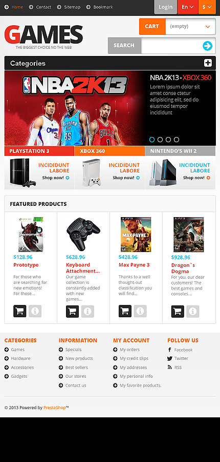 Games Most Popular website inspirations at your coffee break? Browse for more PrestaShop #templates! // Regular price: $139 // Sources available: .PSD, .PHP, .TPL #Games #Most Popular #PrestaShop