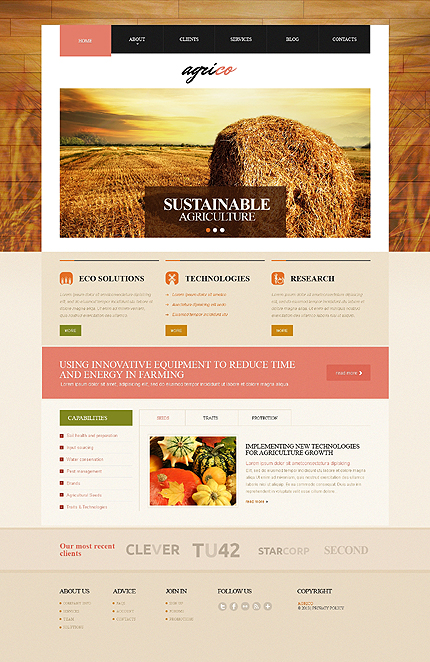 Agriculture website inspirations at your coffee break? Browse for more Responsive JavaScript Animated #templates! // Regular price: $69 // Sources available: .HTML,  .PSD #Agriculture #Responsive JavaScript Animated