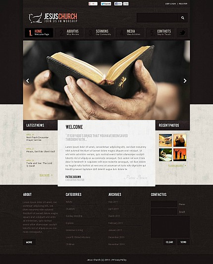 Religious website inspirations at your coffee break? Browse for more Stretched Flash CMS Theme #templates! // Regular price: $99 // Sources available:.XFL #Religious #Stretched Flash CMS Theme