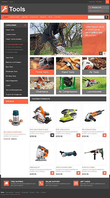 Tools & Equipment website inspirations at your coffee break? Browse for more Zen Cart #templates! // Regular price: $139 // Sources available: .PSD, .PHP #Tools & Equipment #Zen Cart