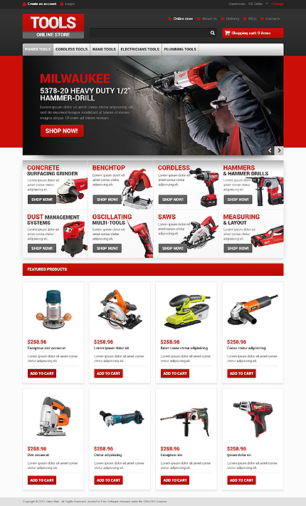 Tools & Equipment website inspirations at your coffee break? Browse for more VirtueMart #templates! // Regular price: $139 // Sources available: .HTML,  .PSD, .PHP, .XML, .CSS, .JS #Tools & Equipment #VirtueMart