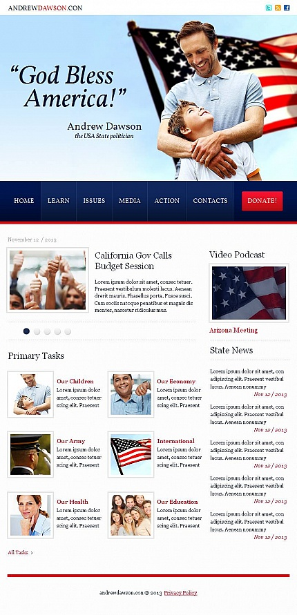 Politics website inspirations at your coffee break? Browse for more Facebook HTML CMS Template #templates! // Regular price: $59 // Sources available:<b>Sources Not Included</b> #Politics #Facebook HTML CMS Template