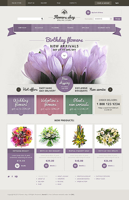 Flowers Most Popular website inspirations at your coffee break? Browse for more VirtueMart #templates! // Regular price: $139 // Sources available: .HTML,  .PSD, .PHP, .XML, .CSS, .JS #Flowers #Most Popular #VirtueMart