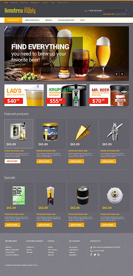 Brewery Templates website inspirations at your coffee break? Browse for more OpenCart #templates! // Regular price: $89 // Sources available: .PSD, .PNG, .PHP, .TPL, .JS #Brewery Templates #OpenCart