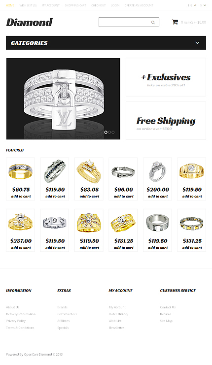 Jewelry Most Popular website inspirations at your coffee break? Browse for more OpenCart #templates! // Regular price: $45 // Sources available: .PSD, .PNG, .PHP, .TPL, .JS #Jewelry #Most Popular #OpenCart