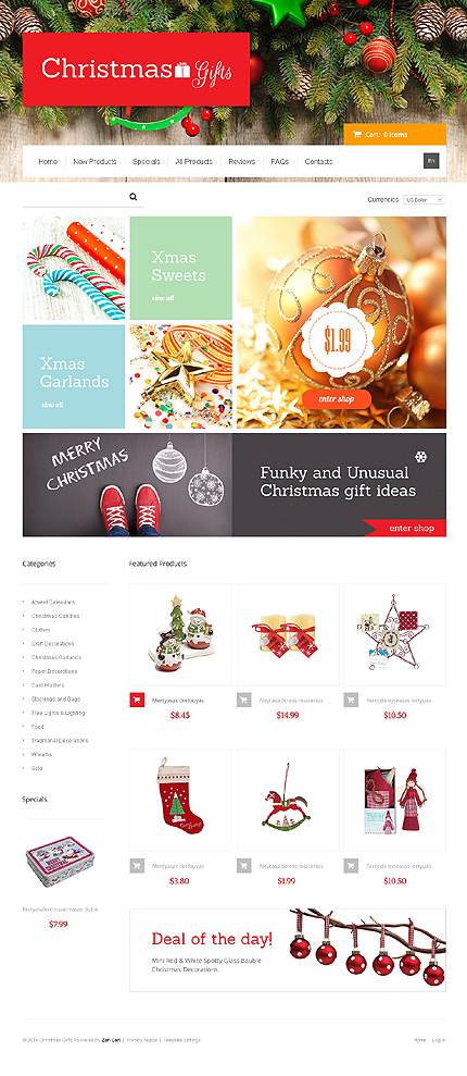 Christmas Templates website inspirations at your coffee break? Browse for more Zen Cart #templates! // Regular price: $139 // Sources available: .PSD, .PHP #Christmas Templates #Zen Cart