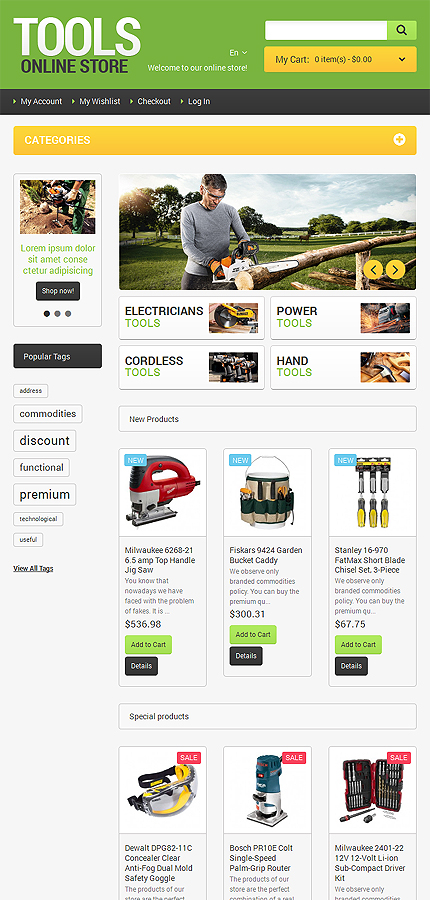 Most Popular Tools & Equipment website inspirations at your coffee break? Browse for more Magento #templates! // Regular price: $179 // Sources available: .PSD, .XML, .PHTML, .CSS #Most Popular #Tools & Equipment #Magento
