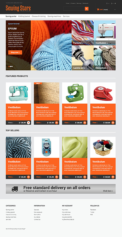 Hobbies & Crafts website inspirations at your coffee break? Browse for more PrestaShop #templates! // Regular price: $139 // Sources available: .PSD, .PHP, .TPL #Hobbies & Crafts #PrestaShop
