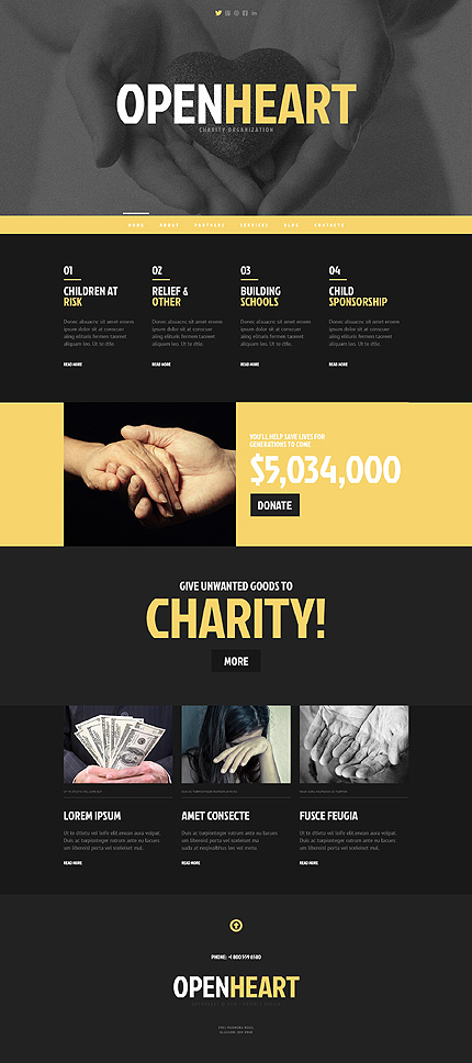Most Popular Charity website inspirations at your coffee break? Browse for more WordPress #templates! // Regular price: $75 // Sources available: .PSD, .PHP, This theme is widgetized #Most Popular #Charity #WordPress