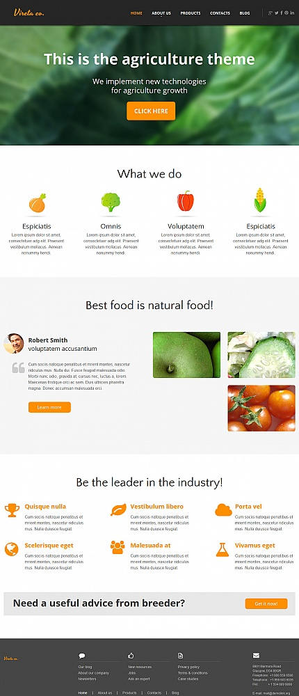 Agriculture website inspirations at your coffee break? Browse for more Moto CMS HTML #templates! // Regular price: $139 // Sources available:<b>Sources Not Included</b> #Agriculture #Moto CMS HTML