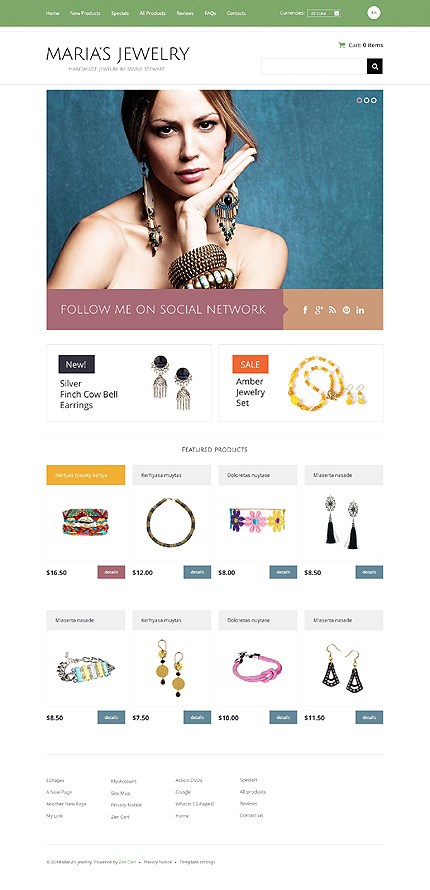 Jewelry website inspirations at your coffee break? Browse for more Zen Cart #templates! // Regular price: $139 // Sources available: .PSD, .PHP #Jewelry #Zen Cart