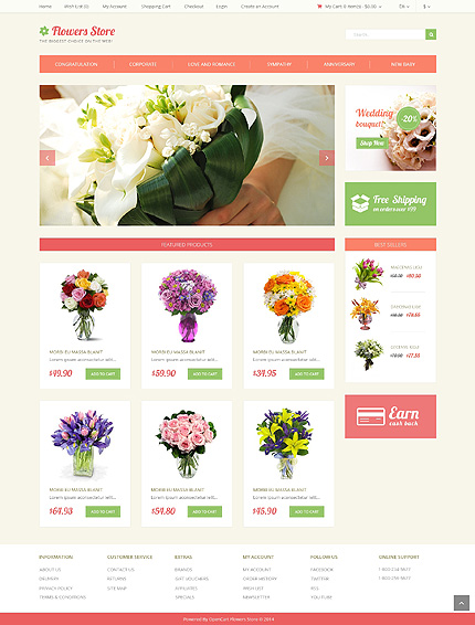 Flowers Most Popular website inspirations at your coffee break? Browse for more OpenCart #templates! // Regular price: $45 // Sources available: .PSD, .PNG, .PHP, .TPL, .JS #Flowers #Most Popular #OpenCart